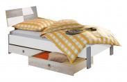 Sunny - Postel s úložným priestorom, 90x200cm (dub, alpská bílá)