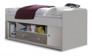 Sunny - Zvýšená postel s úložným priestorom (dub, alpská bílá)