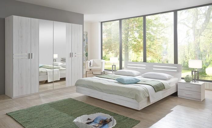 Susan - komplet, postel 180cm (bílý dub, chromové prvky)