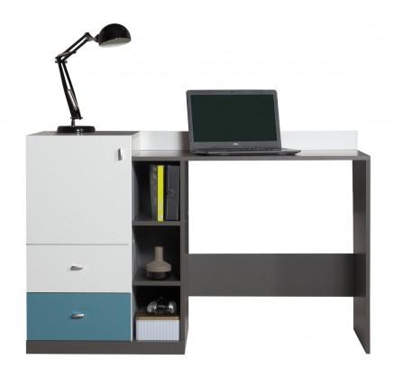 Tablo-psací stůl,1x dveře (grafit/bílá, lesk/atlantic)