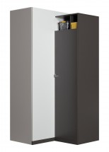 Tablo - šatní skříň, 2x dveře, 90 cm (grafit/bílá,lesk/atlantic)