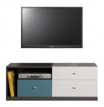 Tablo - TV stolek, 3x zásuvka (grafit/bílá, lesk/atlantic)