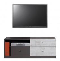 Tablo - TV stolek, 3x zásuvka (grafit/enigma)