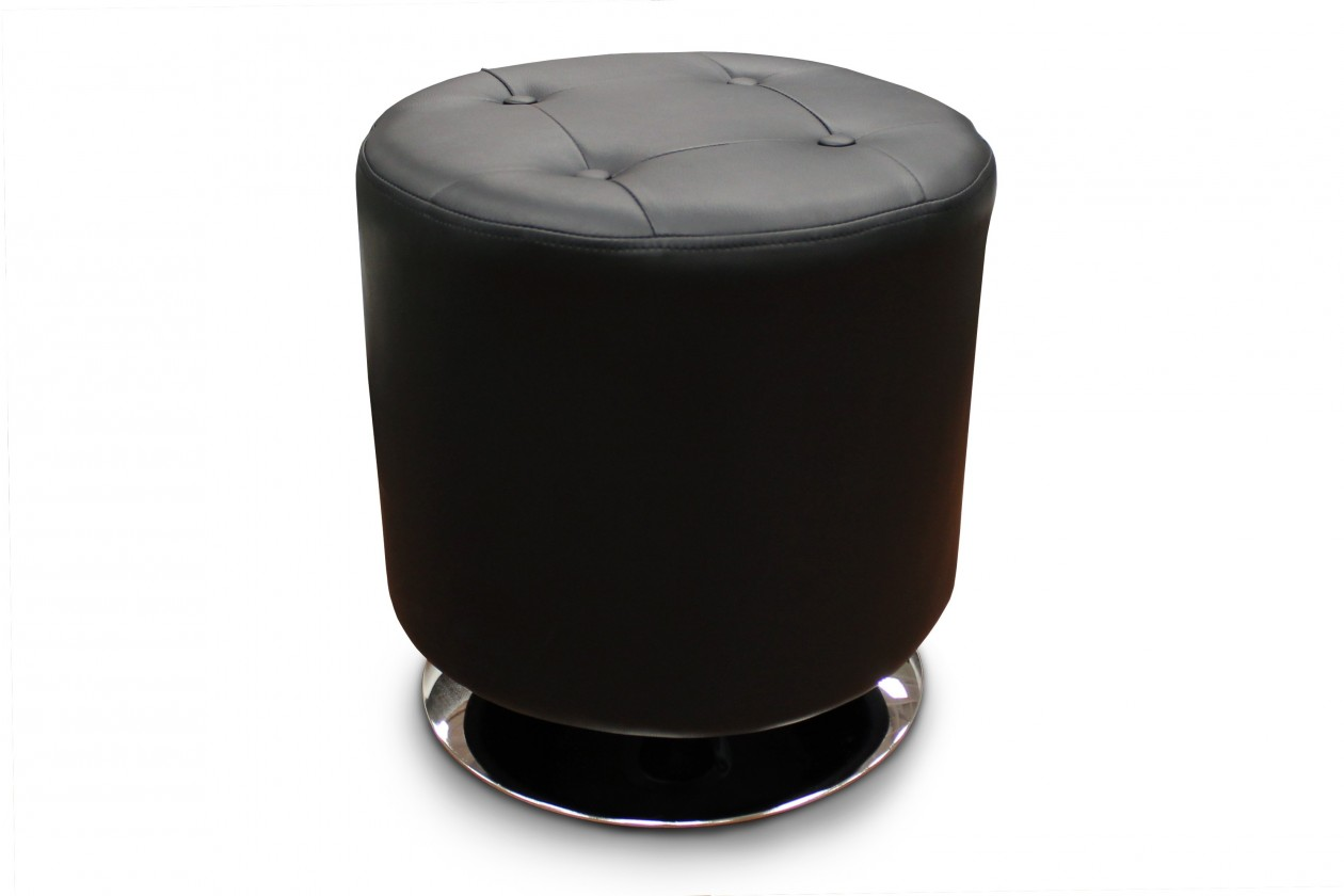 Taburety Kožený taburet Dora kruh černá