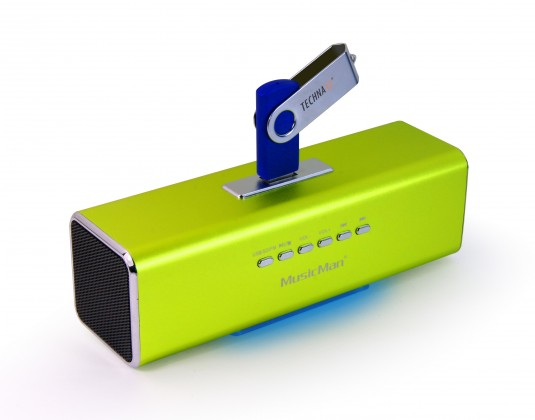Technaxx MusicMan, baterie 600 mAh, FM-Radio, USB, zelený