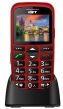 Telefon pro seniory iGET D7 Simple, červená