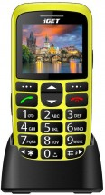 Telefon pro seniory iGET D7 Simple, žlutá