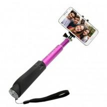 Teleskopická selfie tyč FIXED s BT spouští, růžová