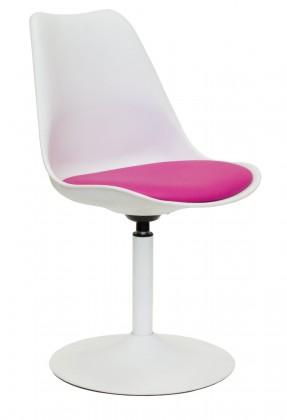 Tequila - Jídelní židle (bílá, eko kůže růžová)