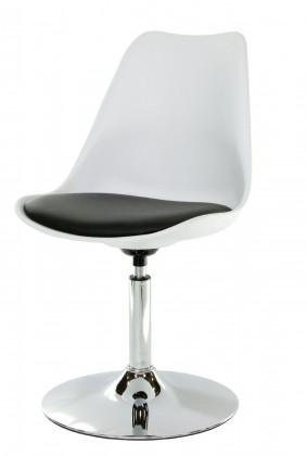 Tequila - Jídelní židle (chrom, bílá, eko kůže černá)