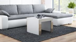 Tess - Konferenční stolek čtvercový (bílá, hnědá)