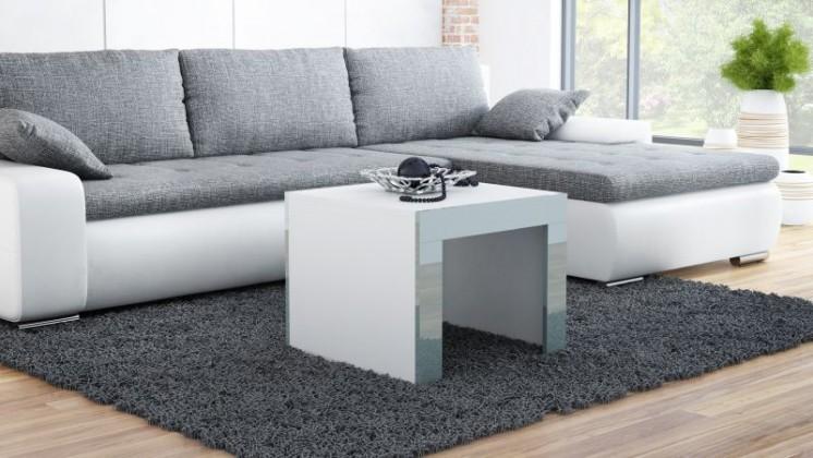 Tess - Konferenční stolek čtvercový (bílá, šedá)
