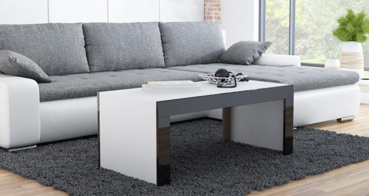 Tess - Konferenční stolek obdélníkový (bílá, černá)
