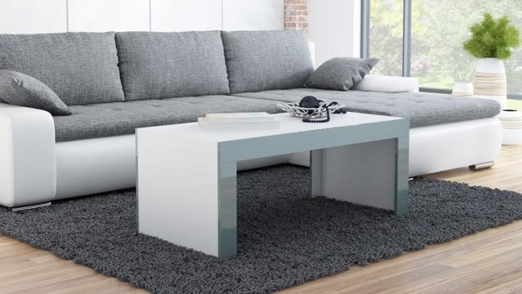 Tess - Konferenční stolek obdélníkový (bílá, šedá)