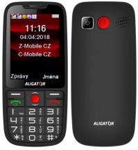 Tlačítkový telefon pro seniory Aligator A890, černá