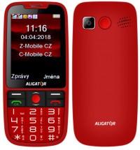 Tlačítkový telefon pro seniory Aligator A890, červená