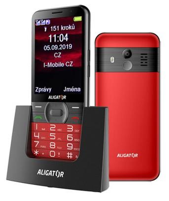 Tlačítkový telefon pro seniory Aligator A900, červená