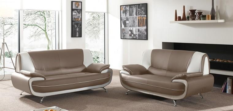 Toni-sedací set (taupe-hl.látka/white-dopňková látka)