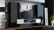 Torii - Obývací stěna (černá lesk, tv stolek: bílá/bílá lesk)