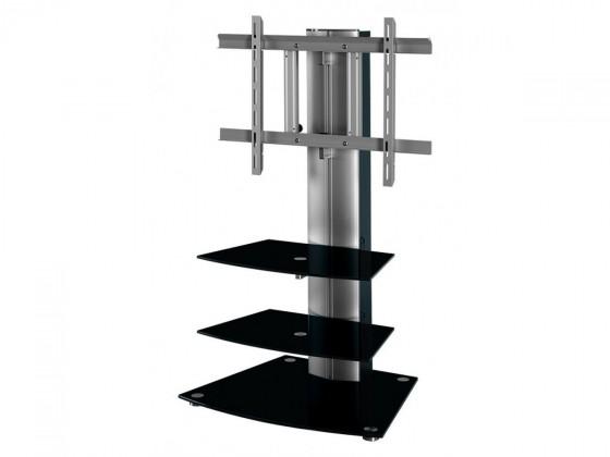 TV, Hifi stolek  - dřevěný Alladyn - TV stolek s držákem (černá/stříbrná)