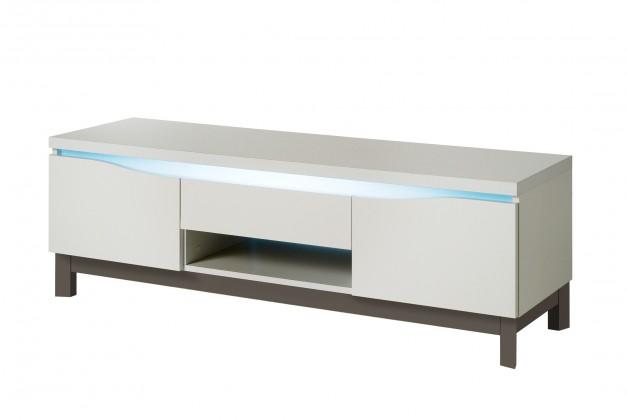TV, Hifi stolek  - dřevěný Almera - TV stolek (bílá/šedá)