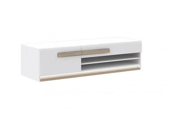 TV, Hifi stolek  - dřevěný Attention-ATNT12LB(P50 - bílý / dub sonoma / bílý lesk)