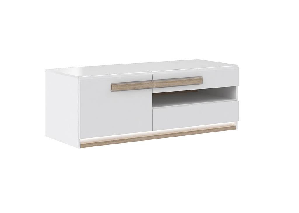 TV, Hifi stolek  - dřevěný Attention-ATNT23LB(P50 - bílý / dub sonoma / bílý lesk)