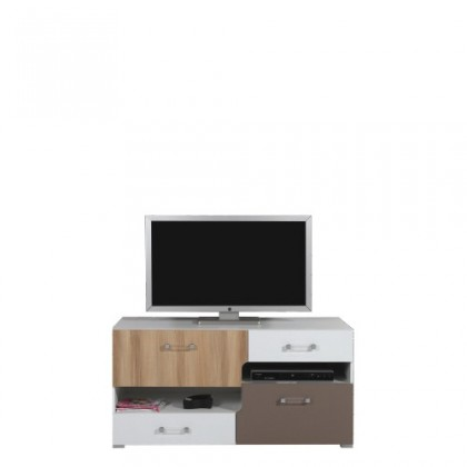 TV, Hifi stolek  - dřevěný BLOG BL 11 (jilm/bílá lesk/cappucino)