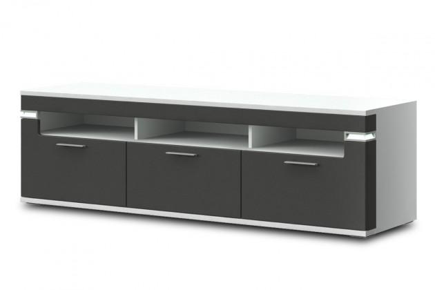 TV, Hifi stolek  - dřevěný Bow Typ 32 (bílá arctic LDTD / grafit vysoký lesk MDF)