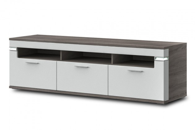 TV, Hifi stolek  - dřevěný Bow Typ 32 (dub truffel LDTD / bílá arctic vysoký lesk MDF)