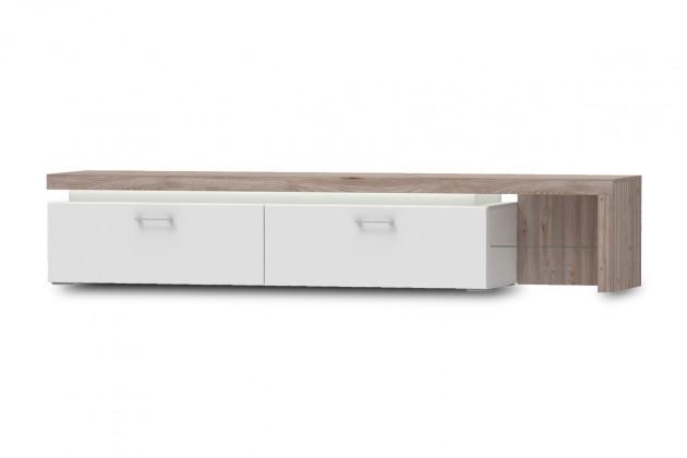 TV, Hifi stolek  - dřevěný Broke Typ 31 (bílá arctic/bílá arctic vysoký lesk/dub nelson)