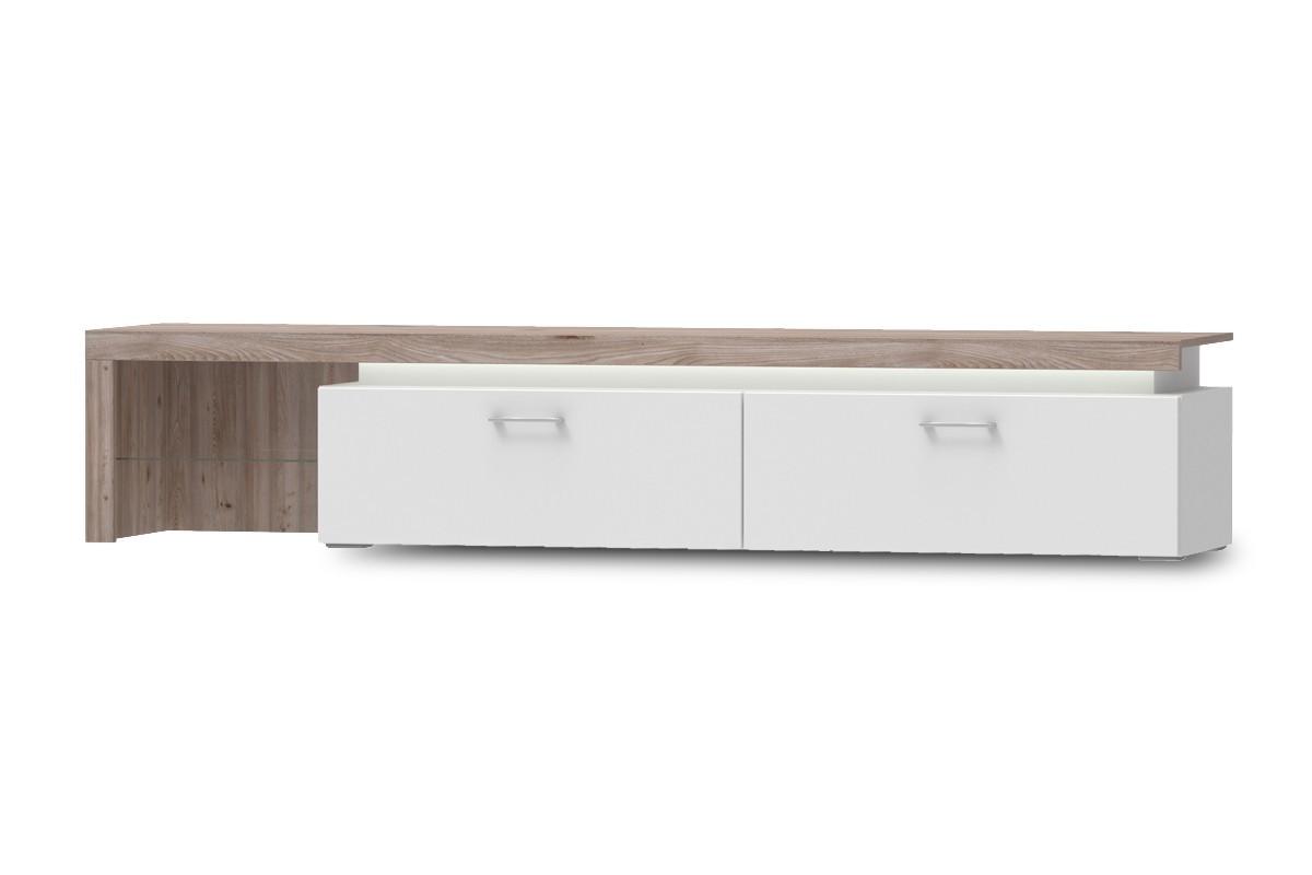 TV, Hifi stolek  - dřevěný Broke Typ 33 (bílá arctic/bílá arctic vysoký lesk/dub nelson)