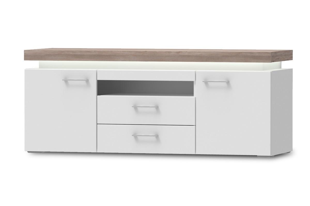 TV, Hifi stolek  - dřevěný Broke Typ 35 (bílá arctic/bílá arctic vysoký lesk/dub nelson)