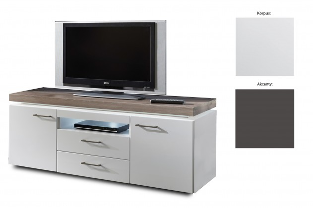 TV, Hifi stolek  - dřevěný Broke Typ 35 (bílá arctic / bílá arctic vysoký lesk / grafit)