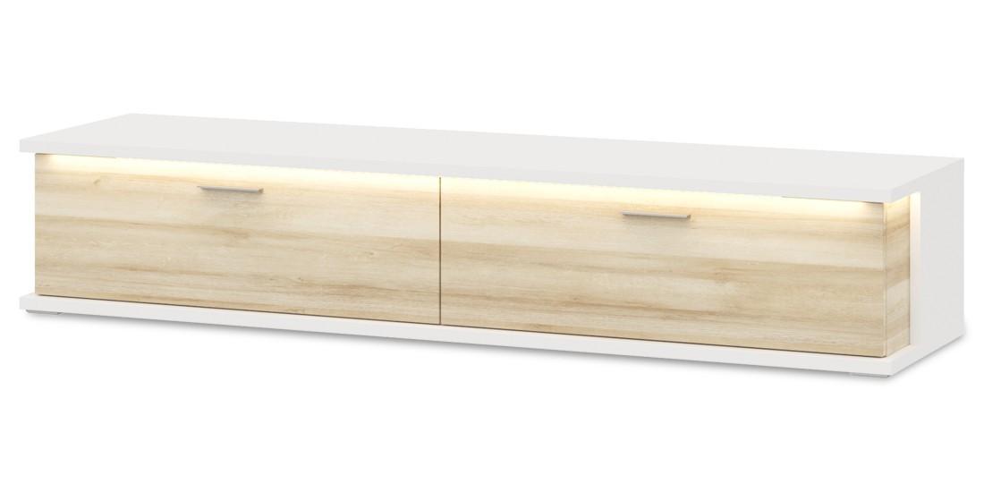 TV, Hifi stolek  - dřevěný Cino - Typ 32 (bílá arctic/dub riviera)