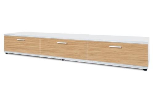 TV, Hifi stolek  - dřevěný Corano - typ 23 (bílá/dub)