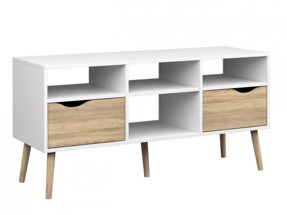 TV, Hifi stolek  - dřevěný Delta - TV stolek, 2x zásuvka (bílá/dub)
