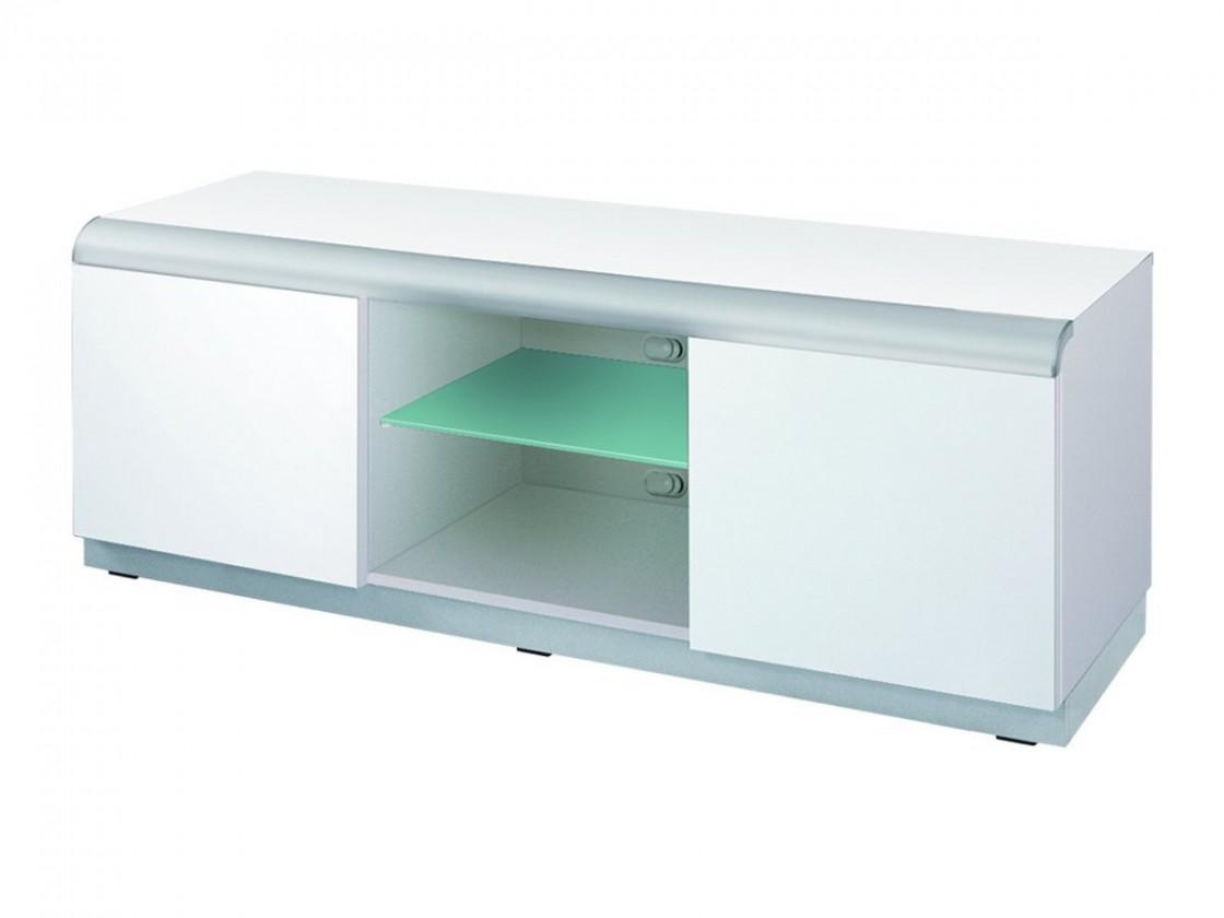 TV, Hifi stolek  - dřevěný Denver 2 - TV stolek (bílá vysoký lesk)