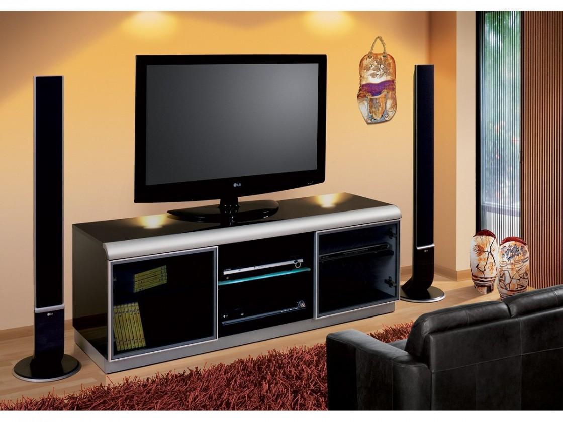 TV, Hifi stolek  - dřevěný Denver - TV stolek (černá vysoký lesk)
