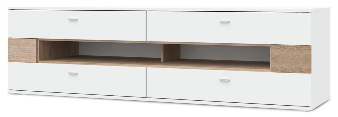 TV, Hifi stolek  - dřevěný Denver - Typ 32 (bílá arctic LDTD / san remo sand)