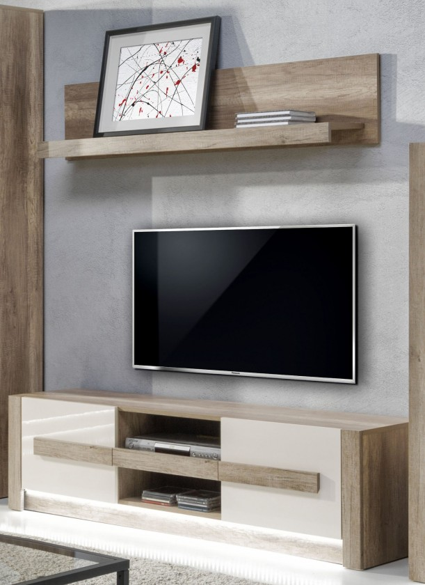 TV, Hifi stolek  - dřevěný Diego - TV komoda nízká, záv. Police (country šedá/jasmín lesk)