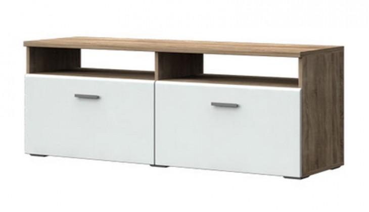 TV, Hifi stolek  - dřevěný Double Typ 31 (Dub pílený Trüffel/Bílá Arctic VL)
