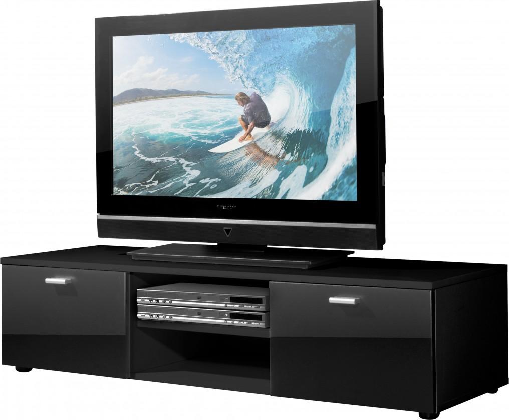 TV, Hifi stolek  - dřevěný Easy - TV stolek, 3665-83 (černá/černá vysoký lesk)