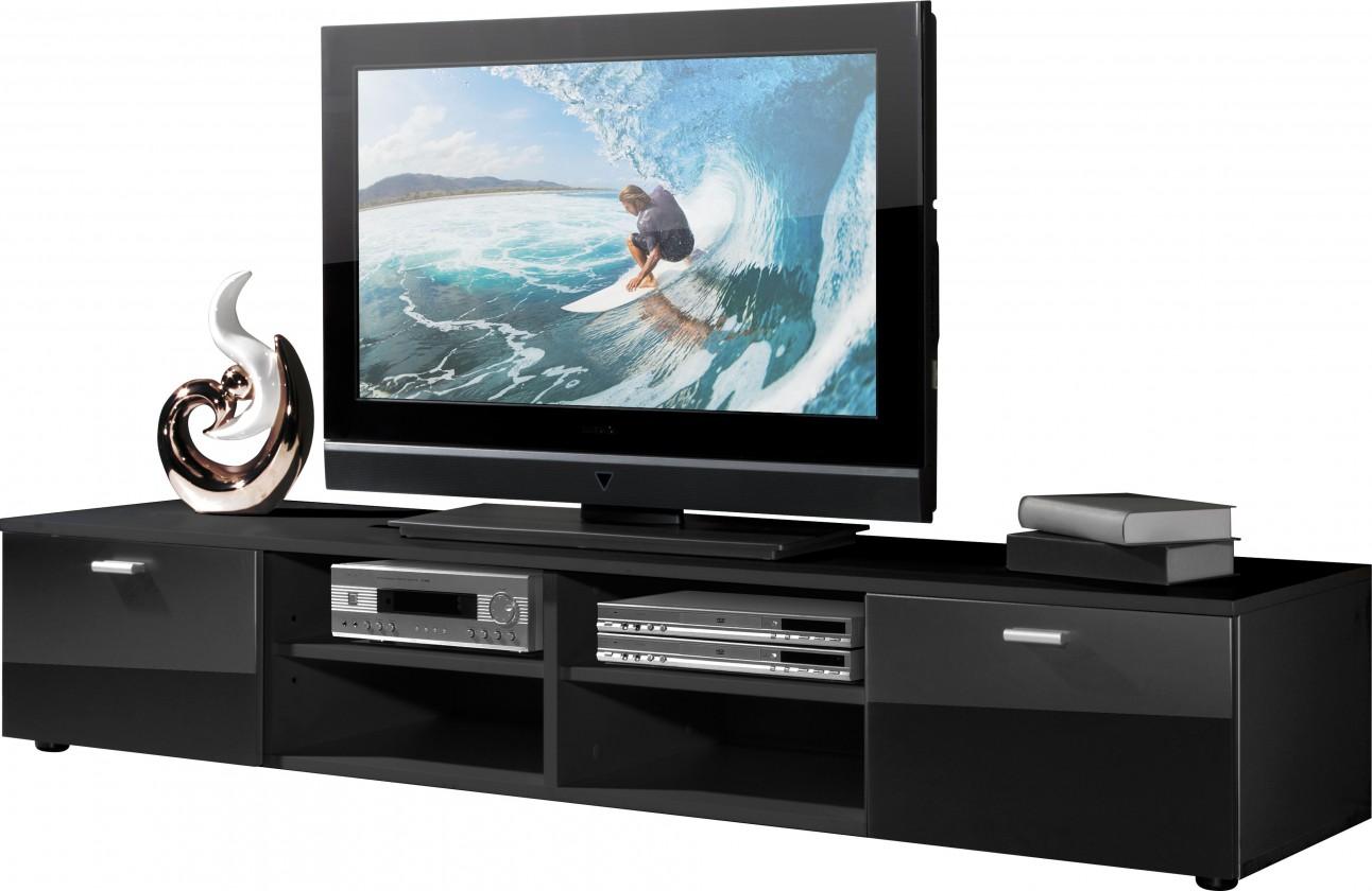 TV, Hifi stolek  - dřevěný Easy - TV stolek, 3666-83 (černá/černá vysoký lesk)