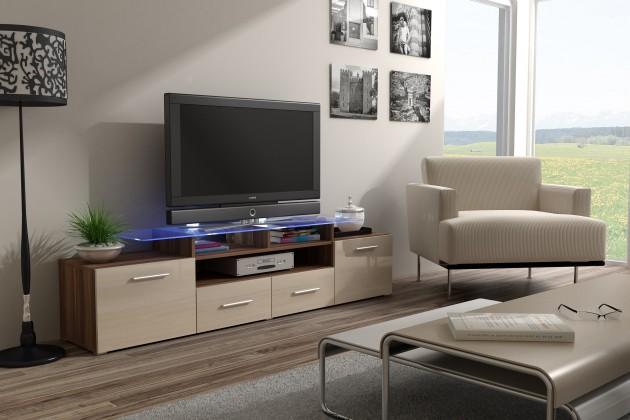 TV, Hifi stolek  - dřevěný Evora - TV stolek (dekor korpusu - švestka)