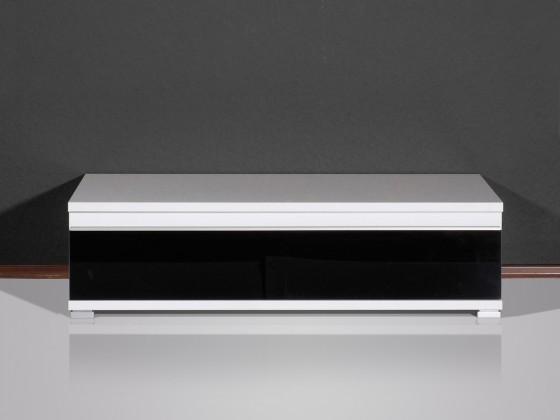 TV, Hifi stolek  - dřevěný Freestyle - TV stolek, 1503-73 (bílá/černé sklo)