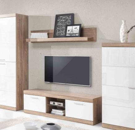 TV, Hifi stolek  - dřevěný Gulio - TV komoda, LED osvětlení (dub stirling/bílý MDF lesk)
