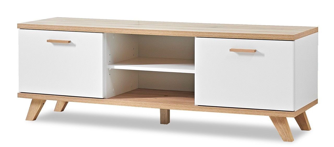 TV, Hifi stolek  - dřevěný GW-Oslo - TV stolek, 2x dveře, 1x police (bílá,dub sanremo)