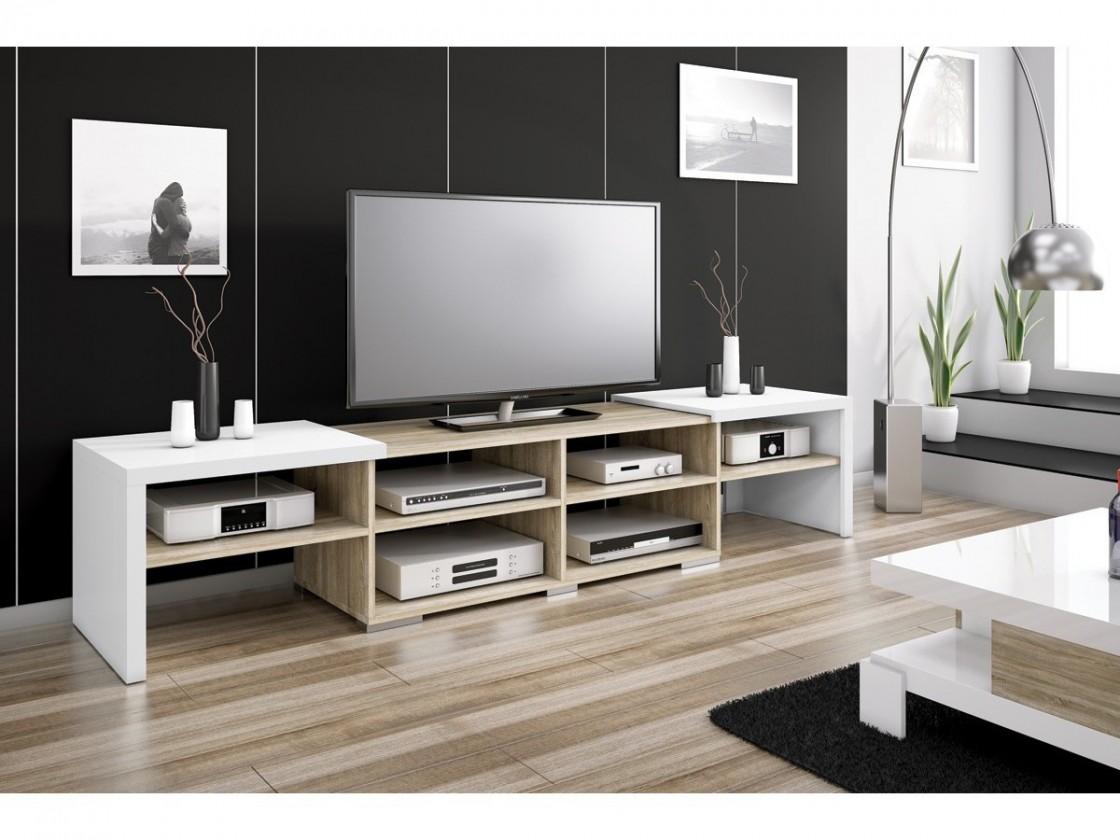 TV, Hifi stolek  - dřevěný Krypton - TV stolek (bílá vysoký lesk/dub sonoma)