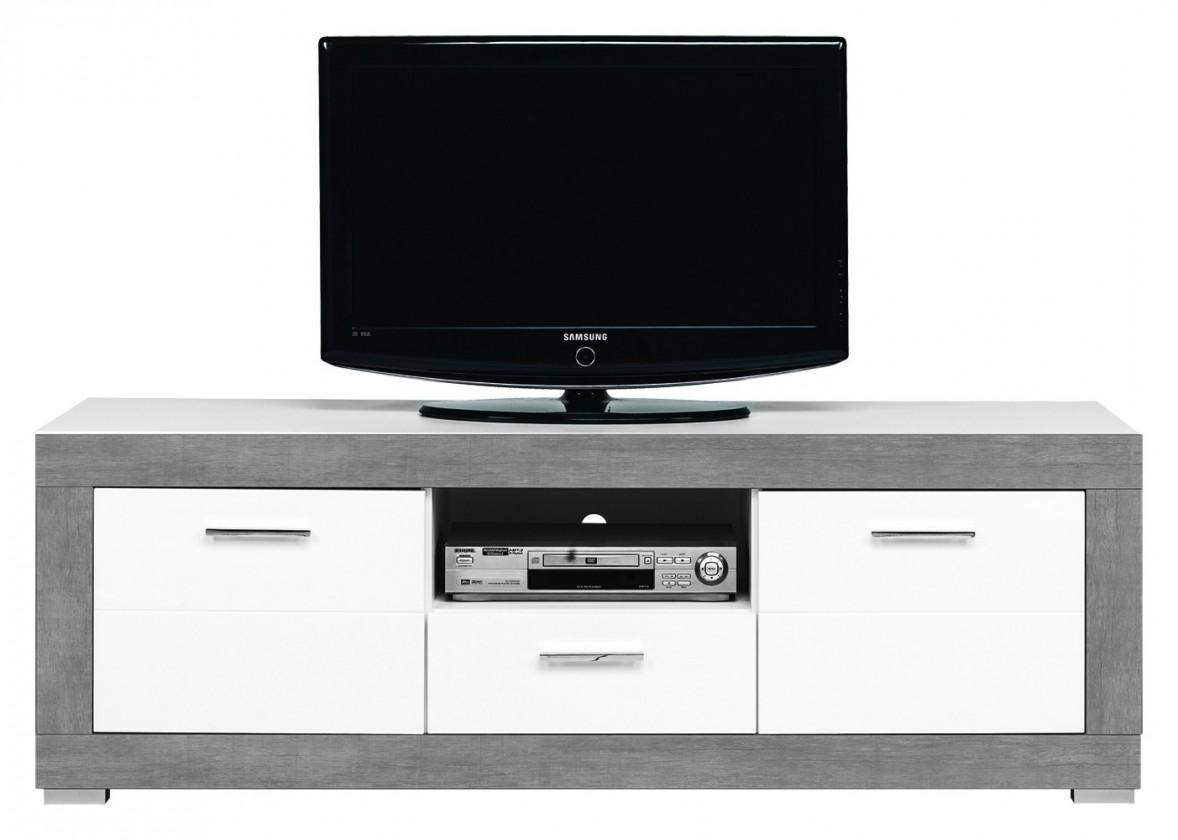 TV, Hifi stolek  - dřevěný Lightning - TV stolek (bílá, šedá)